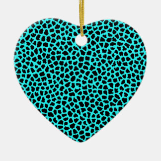 Leopard-Druck-Neon tBlue Keramik Ornament