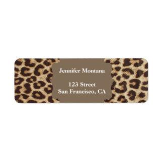 Leopard-Druck-Rücksendeadressen-Aufkleber Rücksende Aufkleber