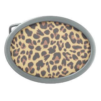 Leopard-Druck-Tierhaut-Muster Ovale Gürtelschnallen