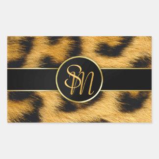 Leopard-Druck-wertvolle Goldinitialen - Aufkleber