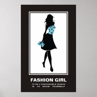 Leopard-Druckplakat des Modemädchens blaues Poster