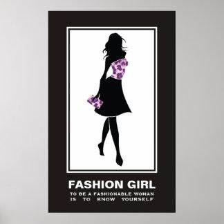 Leopard-Druckplakat des Modemädchens lila lila Plakatdrucke