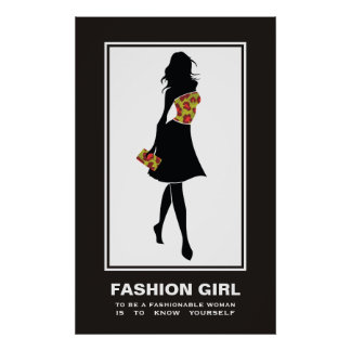 Leopard-Druckplakat des Modemädchens rotes grünes Poster