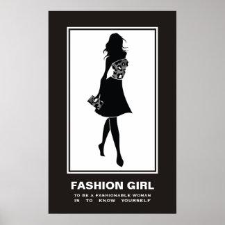 Leopard-Druckplakat des Modemädchens Schwarz-weiße Poster