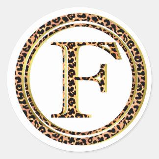 Leopard F Runder Aufkleber
