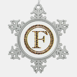 Leopard F Schneeflocken Zinn-Ornament