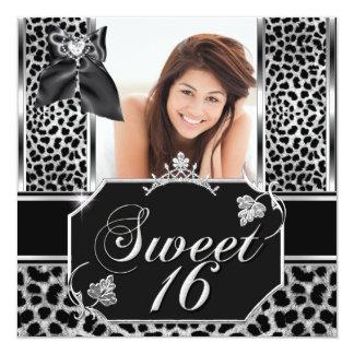 Leopard-Geburtstags-Party-Foto 16. Geburtstag 16 Quadratische 13,3 Cm Einladungskarte