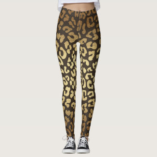 Leopard-Gepard-Druck-Tierhaut-Gold Ombre Leggings