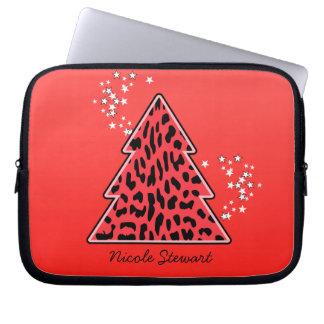 Leopard-Gepard Weihnachtsbaum-Laptop-Hülse Laptop Sleeve