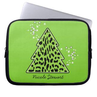 Leopard-Gepard Weihnachtsbaum-Laptop-Hülse Laptopschutzhülle