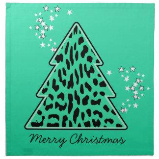 Leopard-Gepard Weihnachtsbaum-Serviette Serviette