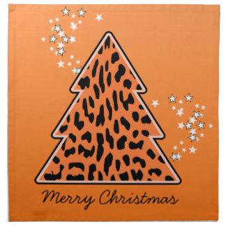Leopard-Gepard Weihnachtsbaum-Serviette Stoffserviette