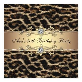 Leopard-Goldleopard-40. Geburtstags-Einladung Quadratische 13,3 Cm Einladungskarte