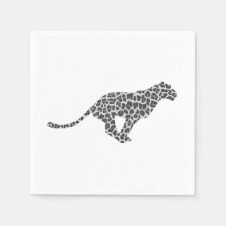 Leopard-graue und hellgraue Silhouette Serviette