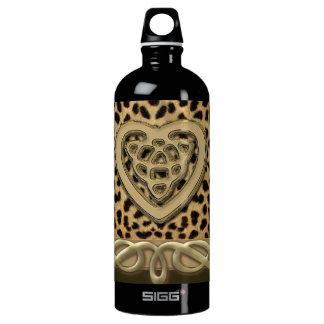 Leopard-Haut-Druck mit Goldceltic-Herzen Aluminiumwasserflasche
