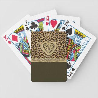 Leopard-Haut-Druck mit Goldceltic-Herzen Bicycle Spielkarten