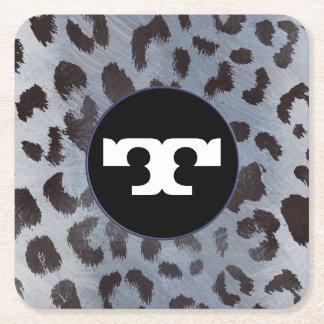 Leopard-Haut im blauen Schiefer Rechteckiger Pappuntersetzer