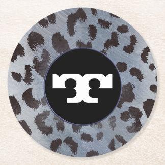 Leopard-Haut im blauen Schiefer Runder Pappuntersetzer
