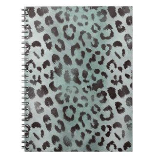 Leopard-Haut im Mandarine-Blau-Meer Spiral Notizblock