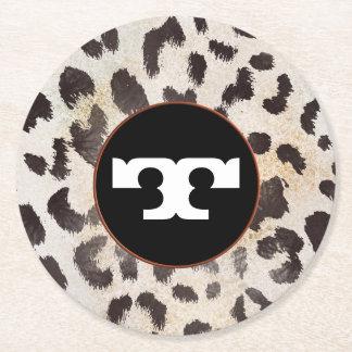 Leopard-Haut im Mandarine-Elfenbein Runder Pappuntersetzer