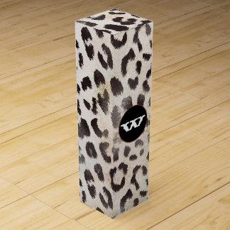 Leopard-Haut im Mandarine-Elfenbein Wein-Geschenkverpackung