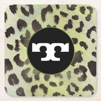 Leopard-Haut im Mandarine-Limonen Grün Rechteckiger Pappuntersetzer