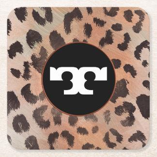 Leopard-Haut in der Mandarine-Aprikose Rechteckiger Pappuntersetzer