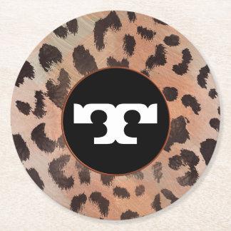 Leopard-Haut in der Mandarine-Aprikose Runder Pappuntersetzer