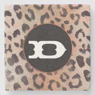 Leopard-Haut in der Mandarine-Aprikose Steinuntersetzer