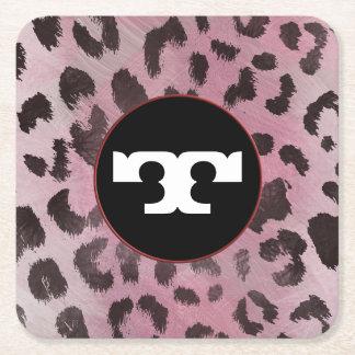 Leopard-Haut in der rosa Rose Rechteckiger Pappuntersetzer