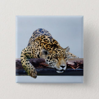 Leopard im Baum II Quadratischer Button 5,1 Cm