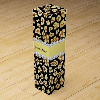 Leopard-Imitat-GoldGlitter und Folien-Schwarzes Wein-Geschenkverpackung