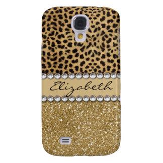 Leopard-Kassagold-Glitter-diamante de imitación Galaxy S4 Hülle