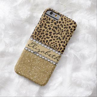 Leopard-Kassagold-GlitterRhinestone DRUCK Barely There iPhone 6 Hülle