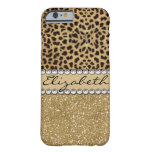 Leopard-Kassagold-GlitterRhinestone FOTO-DRUCK Barely There iPhone 6 Hülle