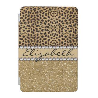 Leopard-Kassagold-GlitterRhinestone FOTO-DRUCK iPad Mini Hülle