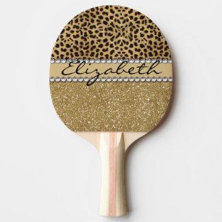 Leopard-Kassagold-GlitterRhinestone FOTO-DRUCK Tischtennis Schläger