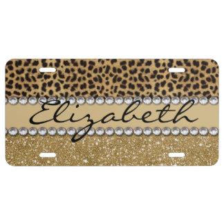 Leopard-Kassagold-GlitterRhinestone FOTO-DRUCK US Nummernschild