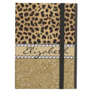 Leopard-Kassagold-Glitzer-diamante de imitación