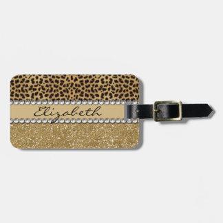 Leopard-Kassagold-Glitzer-diamante de imitación Gepäckanhänger