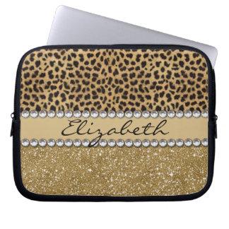 Leopard-Kassagold-Glitzer-diamante de imitación Laptop Sleeve