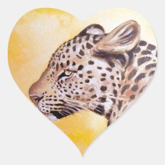 Leopard-Kunst Herz-Aufkleber