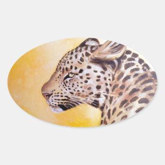 Leopard-Kunst Ovaler Aufkleber