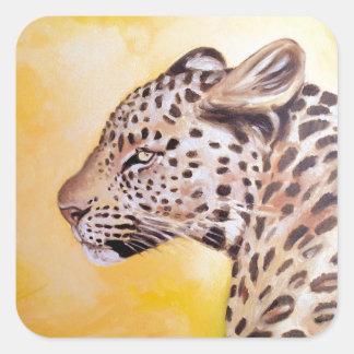 Leopard-Kunst Quadratischer Aufkleber