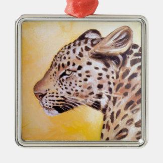 Leopard-Kunst Silbernes Ornament
