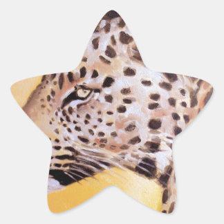 Leopard-Kunst Stern-Aufkleber