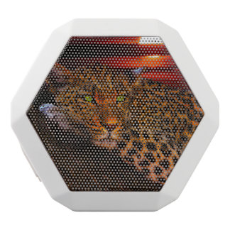Leopard mit Sonnenuntergang Weiße Bluetooth Lautsprecher
