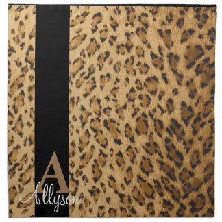 Leopard-Monogramm-Anfangsbuchstabe A Stoffserviette