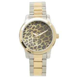 Leopard-Pelz-Druck Armbanduhr