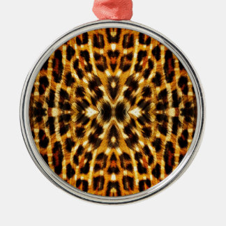 Leopard-Pelz-Muster Rundes Silberfarbenes Ornament